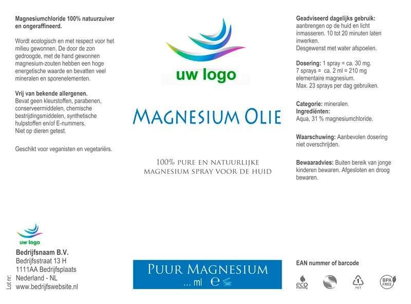 etiket eigen merk magnesium olie