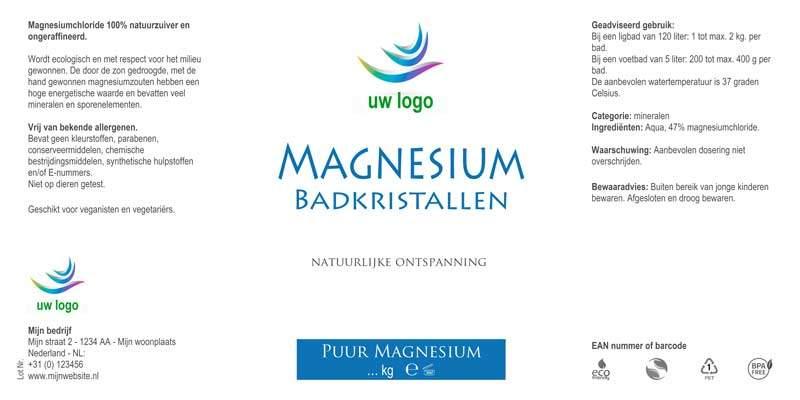 etiket eigen merk magnesium vlokken